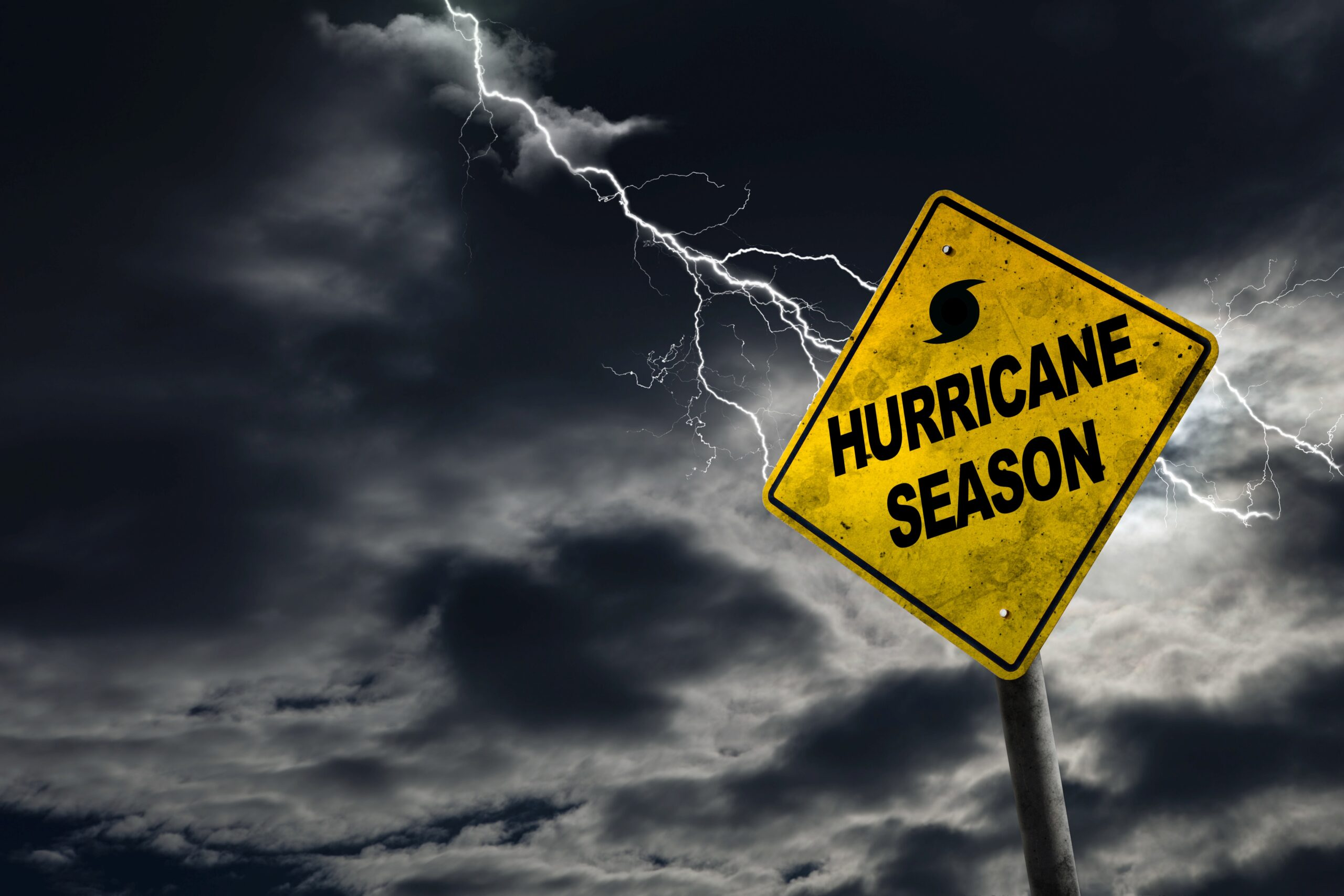 Hurricane Season Sign With Stormy Background